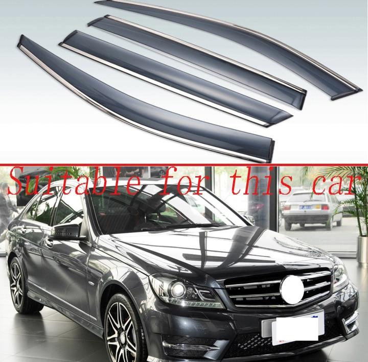 Mercedes-Benz C200 C250 C300 C350 08-14 Ash Grey Out-Channel Visor Sun Guard 4pc