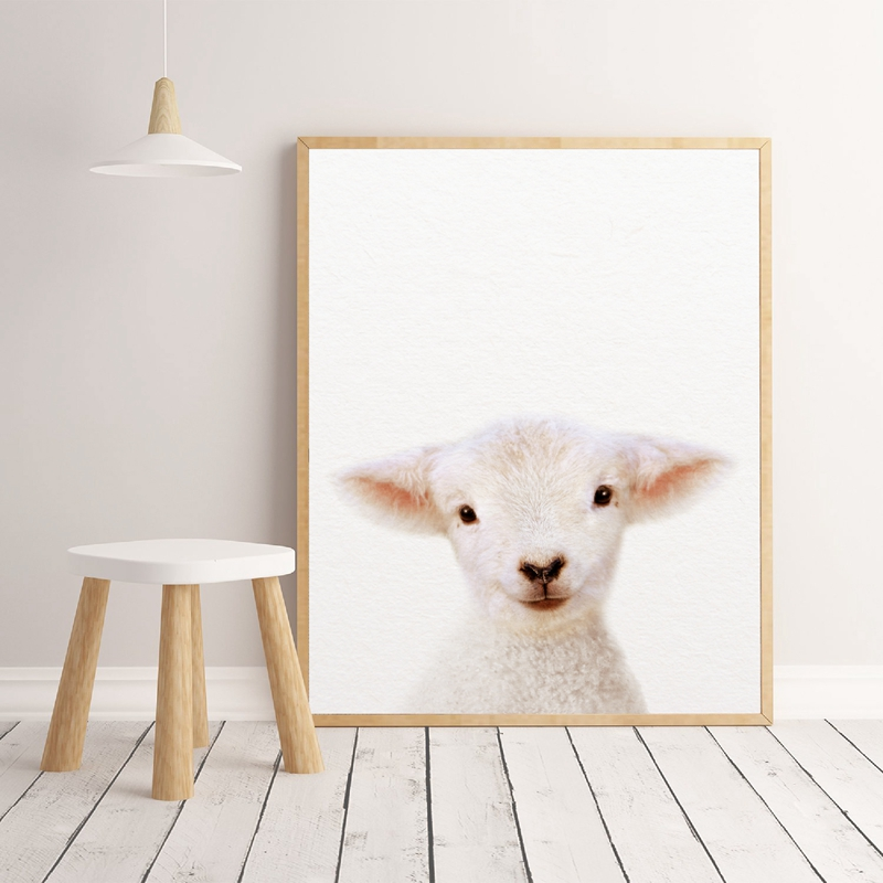 Us 2 65 30 Off Baby Lamb Print Farm Animal Wall Art Nursery Decor Modern Photography Canvas Painting Picture Kids Room Home In