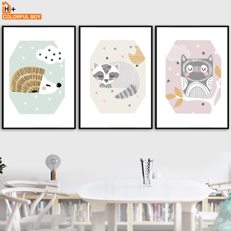 COLORFULBOY sova jež rakun zid umetnost tiskanje platno slikanje - Dekor za dom