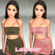 Women Solid Sleeveless Army Green Dress Blackless Bodycon Two Piece Halter Lace Up Dresses Summer Sexy Party 2PCs Laipelar