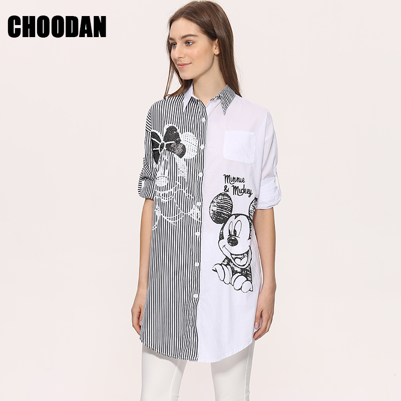 Women Long Blouse Shirt Long Sleeve 2018 New Fashion Summer Autumn Cartoon Mouse Sequined Striped Tops Loose Casual Womans Cloth