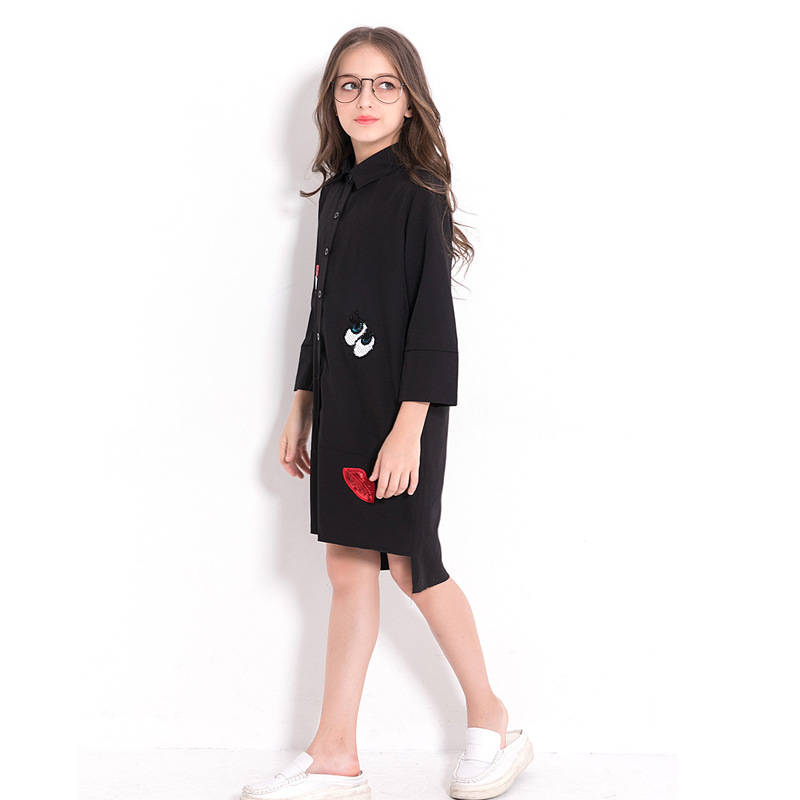 Image 2 - Children Dress Black Chiffon Blouse for Girls Teenage Girls Clothing 5 7 9 10 12 14 years Long Sleeve Sequined Kid Girl Dress-in Dresses from Mother & Kids