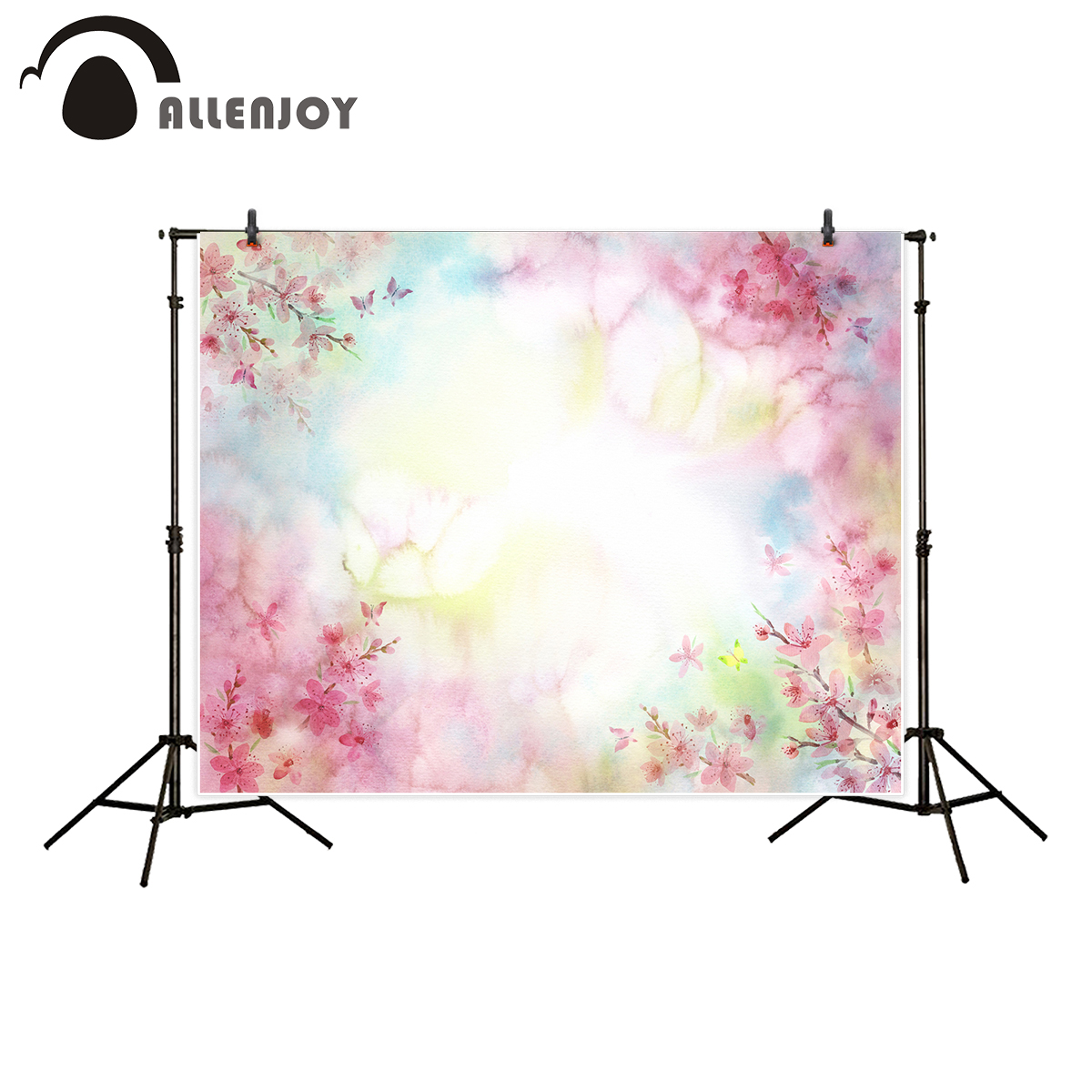 Allenjoy professional photography background Colorful Bokeh Pink Flowers Valentine's Day backdrop newborn baby shower photocall