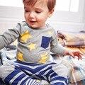 Little maven niños ropa de la marca de primavera primavera moda niños de algodón estampado de estrellas de manga larga bolsillo de la camiseta ct070