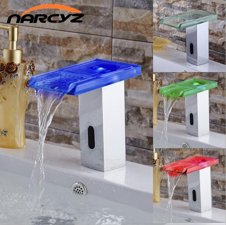 LED copper color change faucet smart induction hot and cold auto sensor faucet XR8847