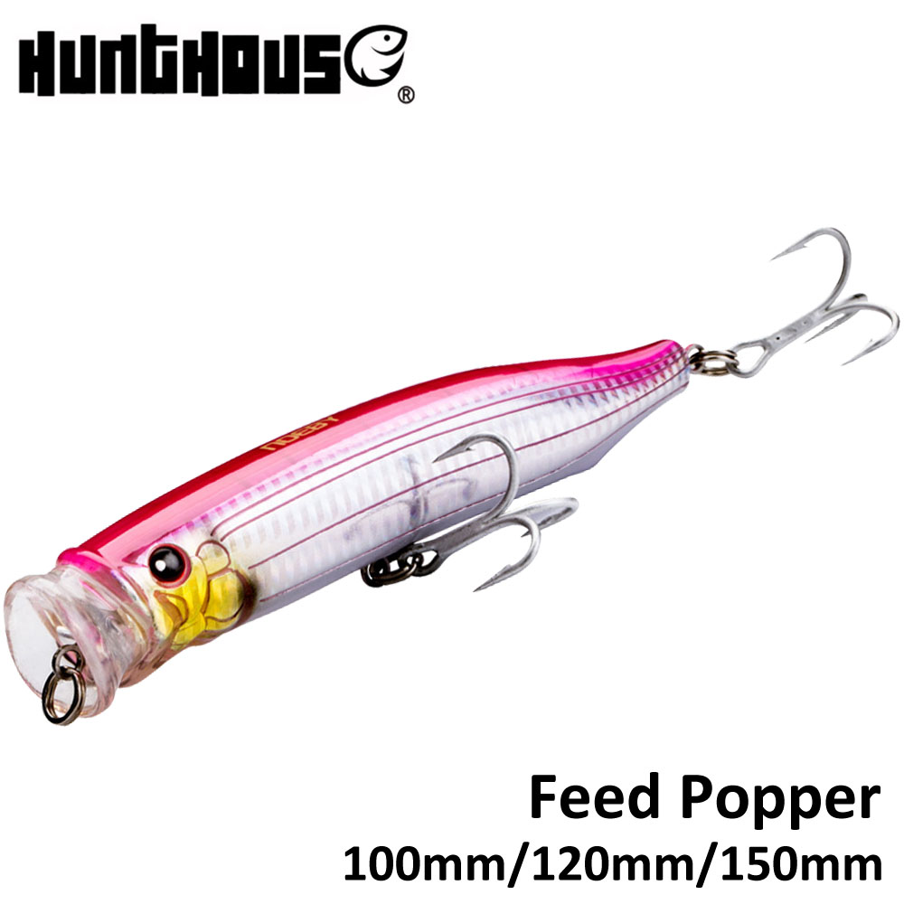 Noeby Feed Popper Fishing Lure ABS Plastic 100mm 19.5g 120mm 29g 150mm 54.5g Top Water For Sea Bass 11 Colors Available
