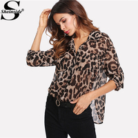 Sheinside 2018 Spring Leopard Print Shirt Pocket Patch Curved Hem Women Casual Sheer Top Office Long