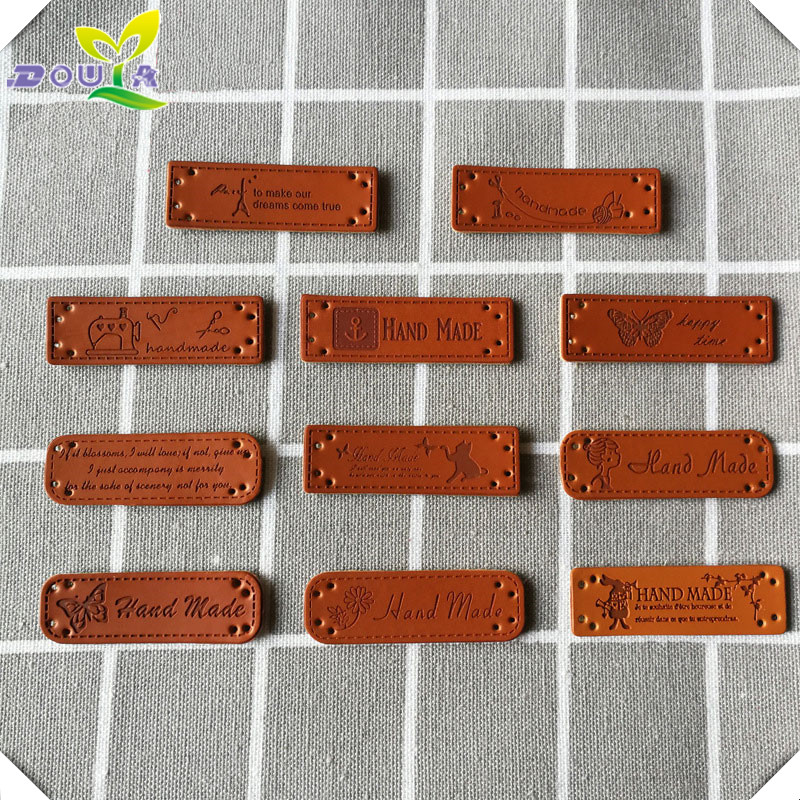DIY Hand Made Tag Trademark PU Leather Hand Made Tags For Clothing Customized Brand Logo Garment Leather Labels Clothes Leather