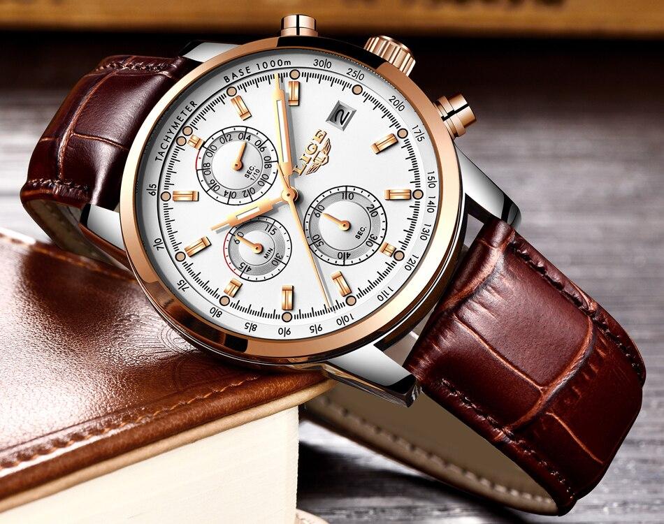 2018 LIGE Mens Watches Top Brand Luxury Leather Quartz Watch Men Military Sport waterproof Gold Watch Clock Relogio Masculino