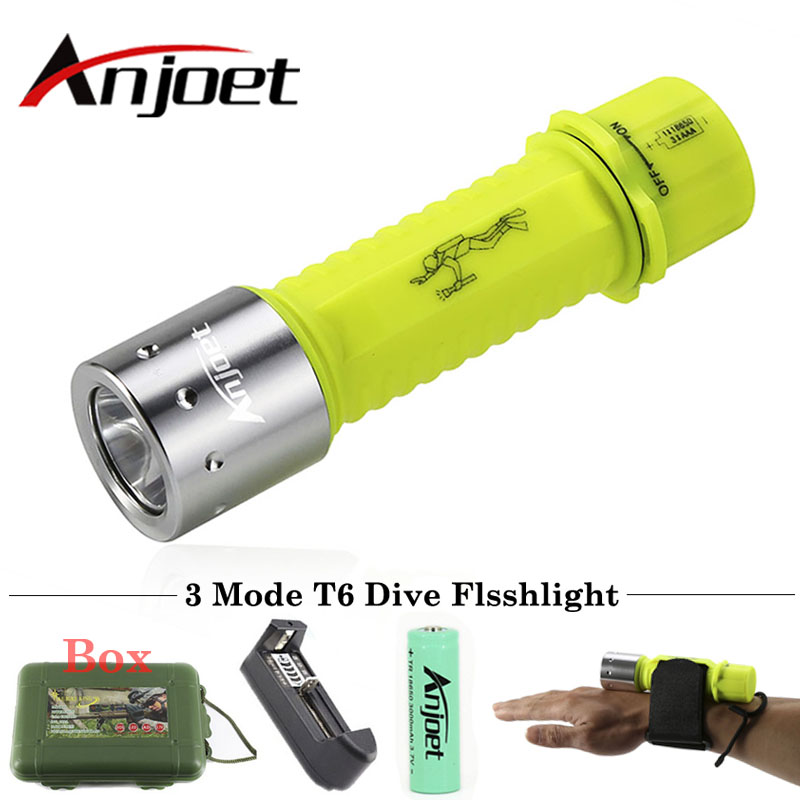 Anjoet 2000LM XM-L T6 LED Waterproof scuba Diver Diving Flashlight 3-Mode underwater Dive Torch light lamp for AAA/18650 Battery