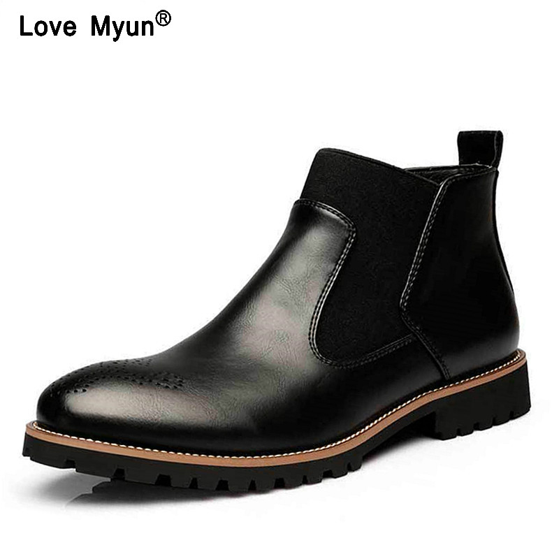 Big Size Autumn Winter Men Martin boots Slip-On Pointed Toe Chelsea Boots Genuine leather Breathable Ankle Boots Male shoes 69 цены
