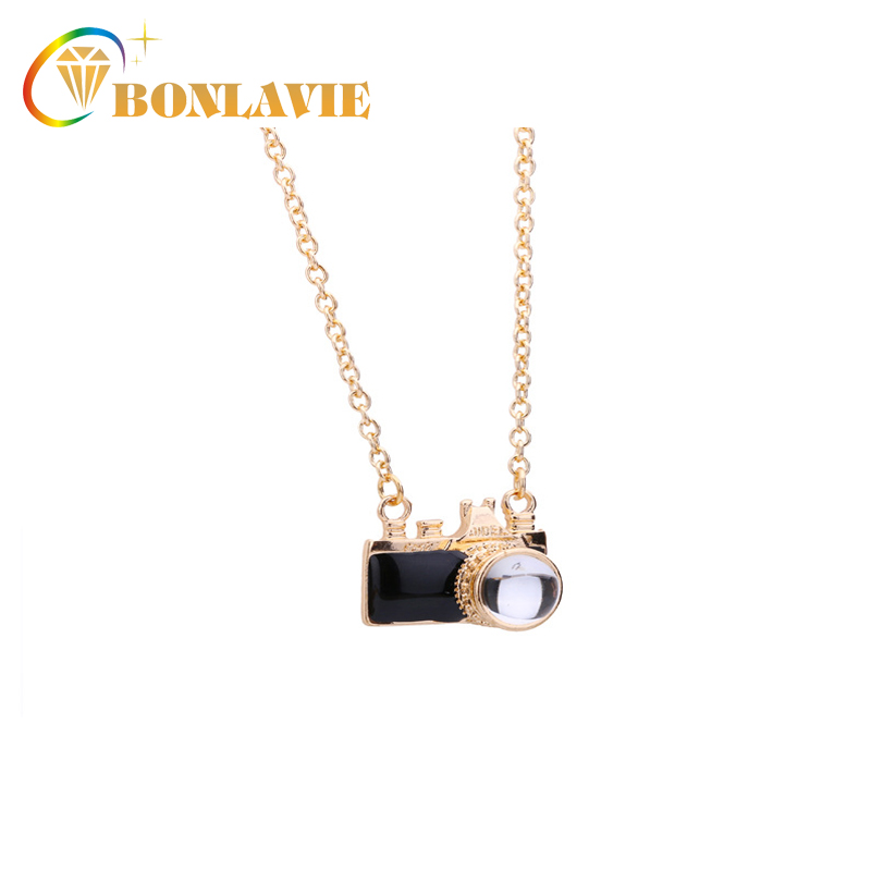 BONLAIVE Trendy Necklances Camera Pendant Best Gift For Lover Women Unisex Black Colour Pink colour ...