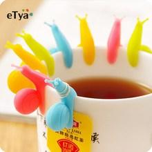5 шт./компл. разные цвета милые улитки Форма силиконовый Чай зажимы полиэтиленового пакета держатель посуда Чай горшок для украшения посуда для напитков