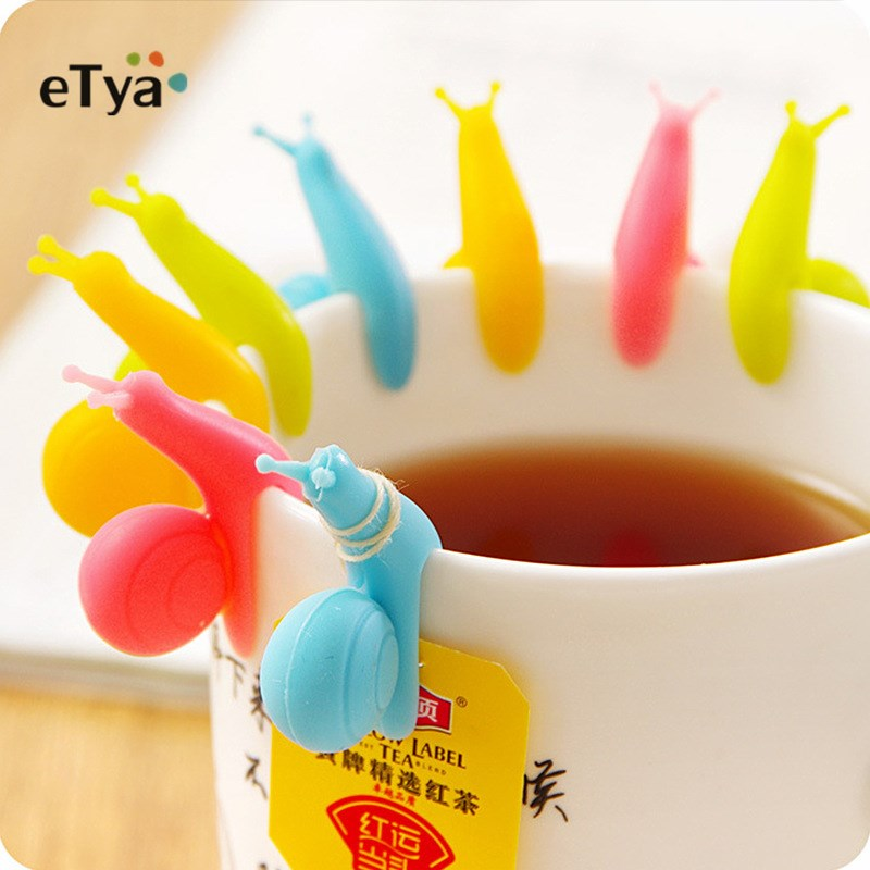 5Pcs/Set Random Color Cute Snail Shape Silicone Tea Bag Clips Holder Tableware Tea Pot Decoration Drinkware