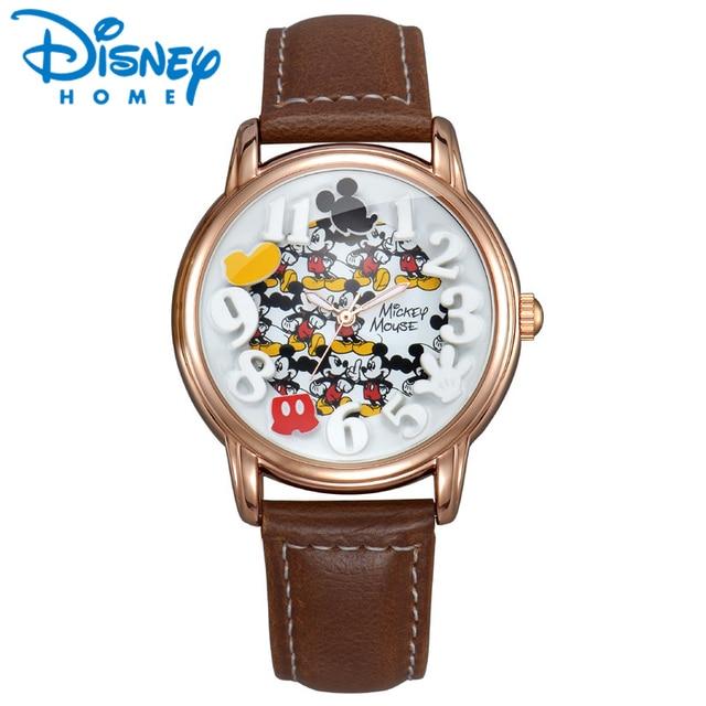 d08be6c818 Montre Disney homme montres Top marque de luxe or noir bracelet en cuir  Quartz Mickey souris
