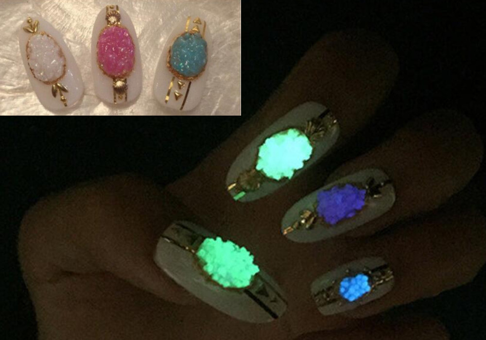 1 Pack Night Light Fluorescent Luminous Neon Glow Nail Art ...