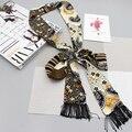 Luna&Dolphin Womens Small Long Silk Scarf Cashew Flower Printed Vintage Chiffon Scarves 190x6cm Little Scarf For Handbag Ribbon