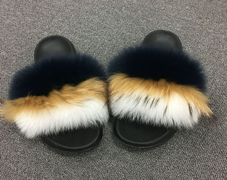 Women Summer Fox Fur Slipper Fur Slides Slip On Beach Sandals Flip Flop Outdoor Slippers ...