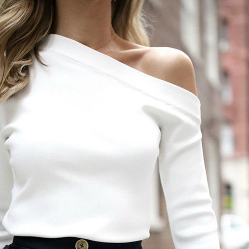 Autumn Winter Women Shirt Split Long Sleeve One Shoulder Solid Color Tops Lady Casual GDD99