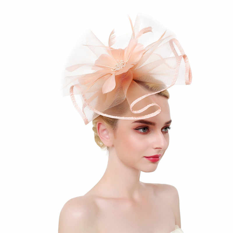 Elegant Fascinators Pink Red Wedding Bride Headwear for Women Linen Mesh Vintage Ladies Church Dress Decor Sinamay Derby Hats