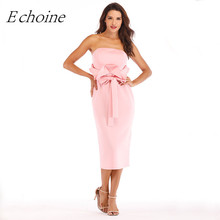 Echoine Ruffle Bow Tie Women Strapless Midi Party Dress Solid Pink Red Black Elegant Back Slit Bodycon Sexy Formal Vestido