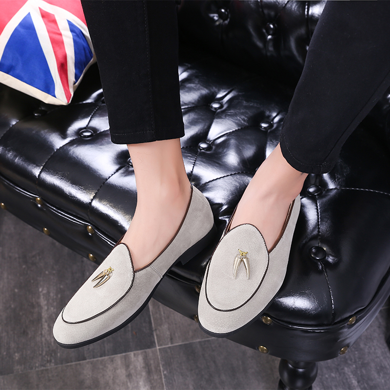 Heye Wings suede leather men casual shoes loafers fashion tassel design Solid color simple and generous office daily dress shoes in Formal Shoes from Shoes