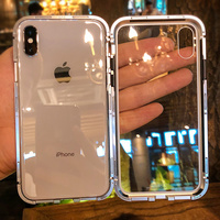 Прозрачный Ультра Магнитный адсорбционный металлический чехол для iPhone XR XS Max X 10 Магнитный чехол из закаленного стекла для iPhone 6 6s 7 8 Plus funda