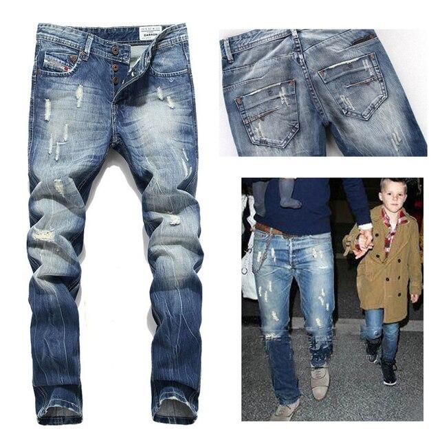 Новая Мода джинсы мужчины повседневные брюки известный бренд мужские Брюки плюс брюки рваные джинсы байкер прямые повседневные брюки 2x020-RH