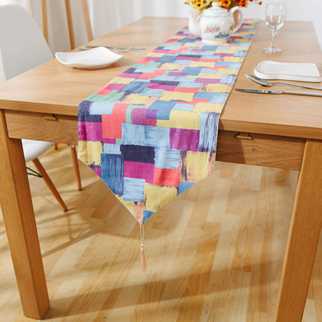 Color Graffiti Scandinavian Table Runner Simple Geometric Pattern Table  Cloth Runner Cotton Table Runners American Tafelloper