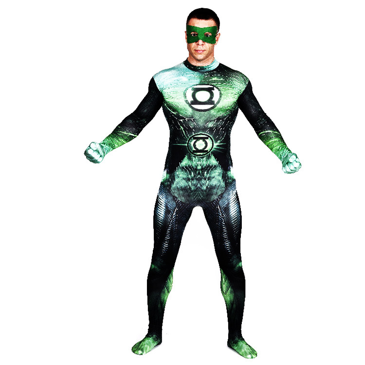 Green Lantern Costume Lycra Cosplay Heroes Alliance Unisex Kids Zentai Full Body Catsuit Men Unitard Women Lycra Catsuit