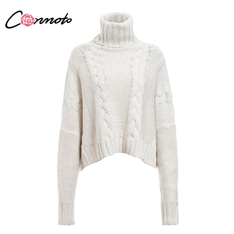 Image 5 - Conmoto Harajuku Turtleneck Crop Sweater 2018 Autumn Winter Long  Sleeve Thick Solid Oversized Pullover White Kintted JumperPullovers