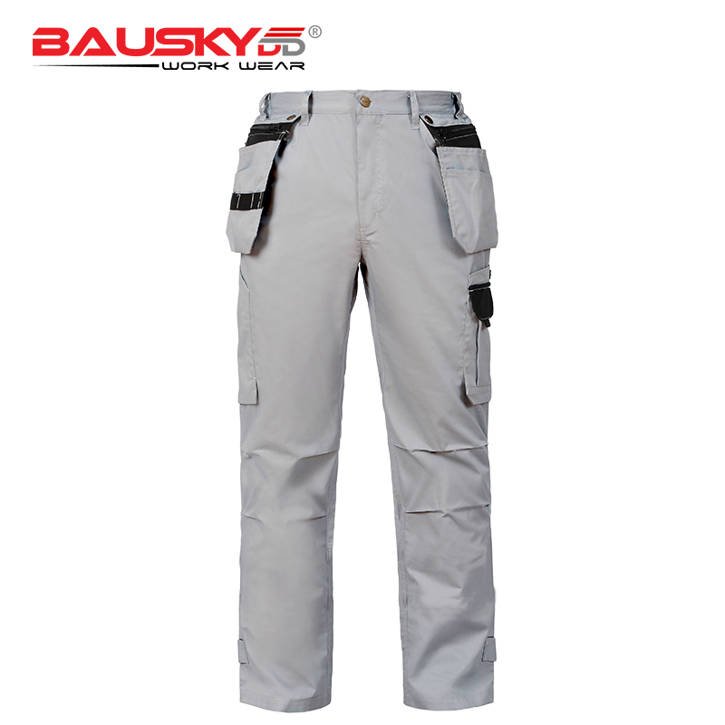 Bauskydd Mens Summer Durable Lumberjack Plumber Maintenance worker Pants Trousers with Tool Pocket Light and Dark Grey stainless steel full window with center pillar decoration trim car accessories for hyundai ix35 2013 2014 2015 24