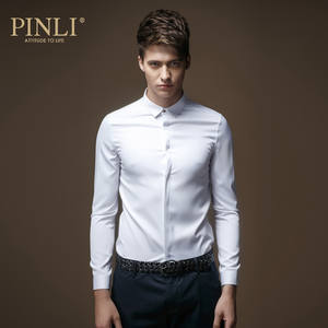 Pinli Shirt Men Long-Sleeved Micro-Collar New Regular British of Slim Solid C029 Blusas