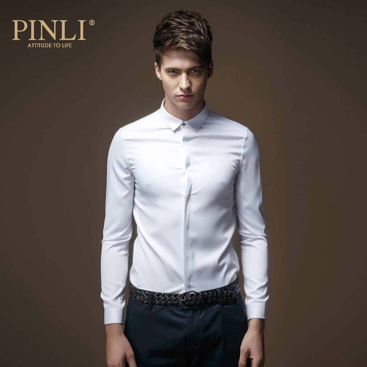 2019 Regular New Blusas Pinli Products In The Spring Of British Men's Solid Color Micro Collar Long Sleeved Shirt Men Slim C029