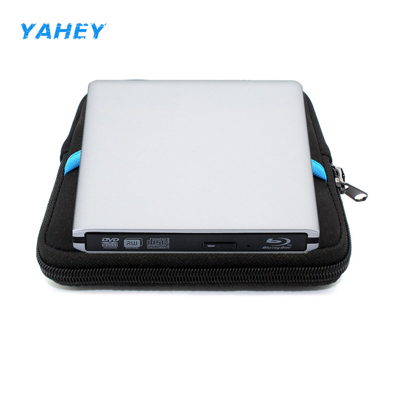 Bluray USB 3.0 External DVD Drive Blu-ray 3D BD-ROM Player DVD-RW Burner Writer Recorder for Laptop Computer pc+Drive Pouch Bag usb 3 0 blu ray burner drive bd re external dvd recorder writer dvd rw dvd ram 3d player for laptop