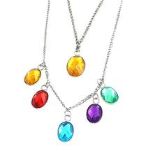 Endgame Gauntlet Infinity Stones Pendant Necklace Bracelet Thanos Super Hero Women Girls Halloween Party Costume Accessories