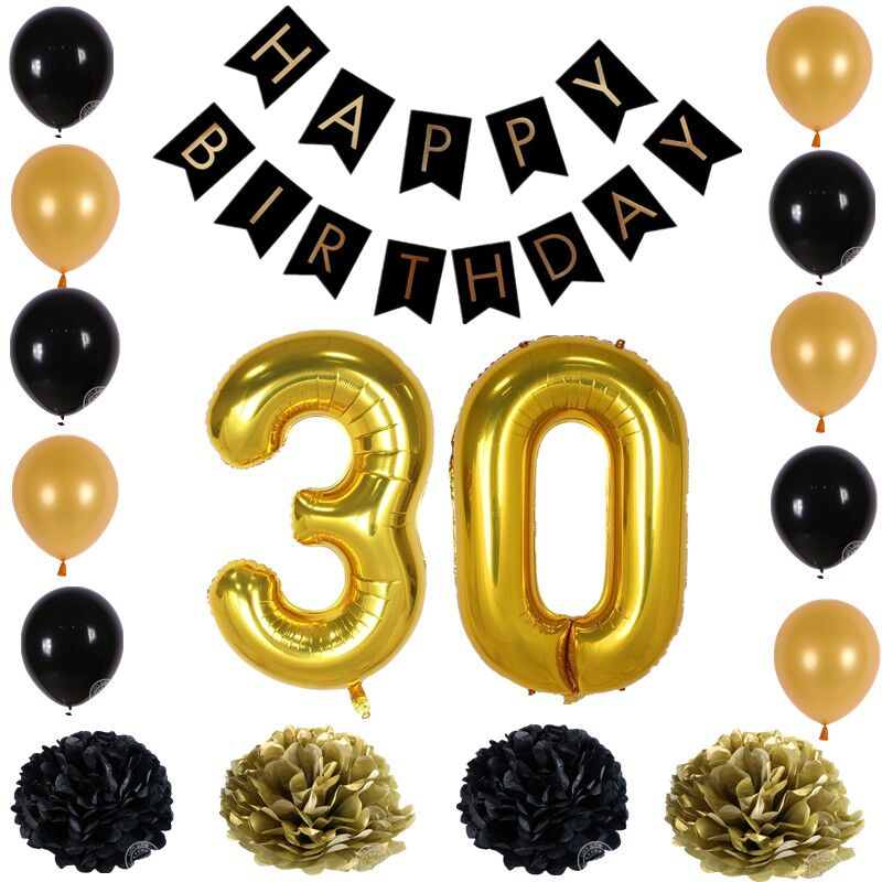 Buy happy birthday paper black banner for 30 birthday decoration