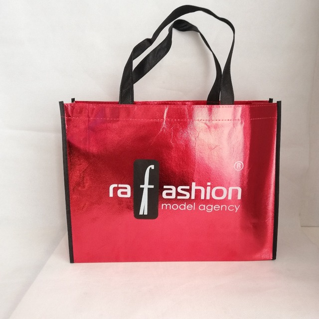 Wholesale 500pcs/lot H30xW40xD10cm Custom Printing Company Logo Shiny Laser Non-woven Fabric Grocery Shopping Tote Bags for Ads