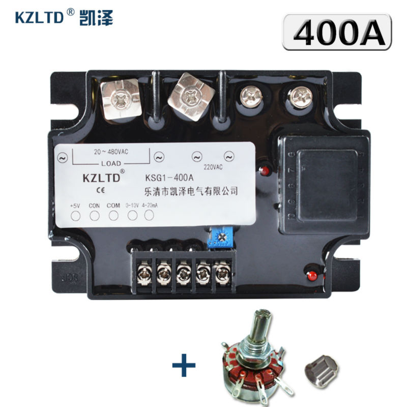 цена на KZLTD Single Phase Solid State Relay 400A 4-20MA 0-5VDC 0-10VDC to 20-480V AC Voltage Regulator Module 400A SSR Relay Relais