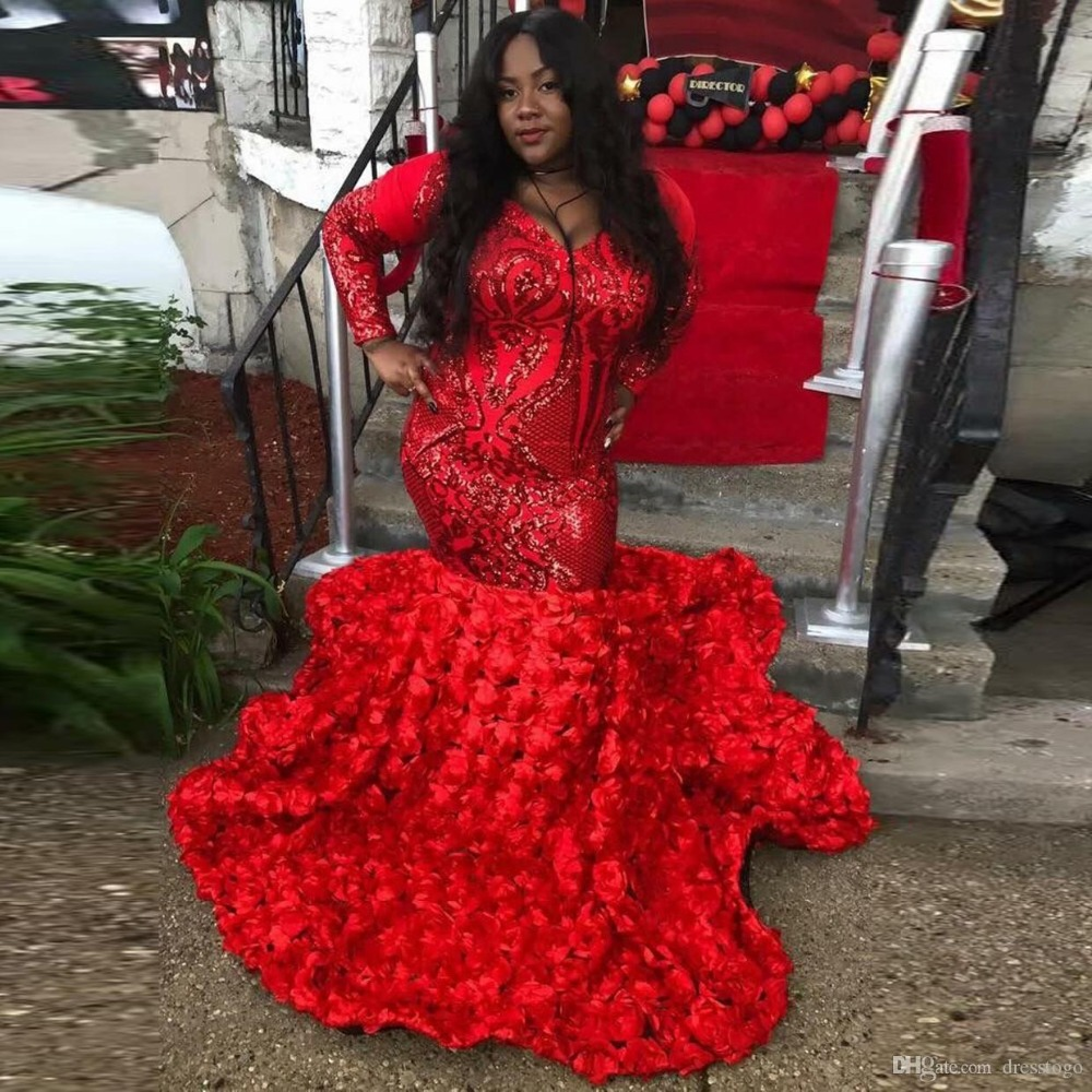 Sparkly African Black Girls Red Gold Mermaid Plus Size   Prom     Dresses   2019 Long Sleeve Sequin Women Long Party Evening Gowns