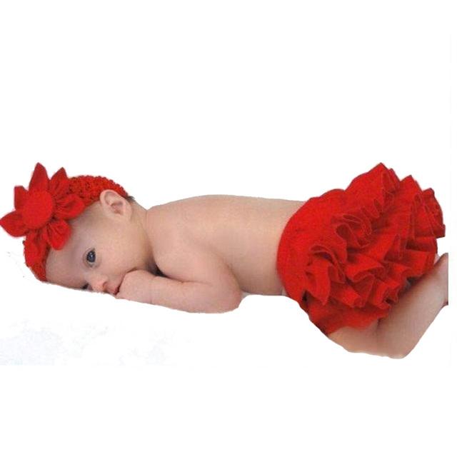 Niñas Ropa Set Fotografía Atrezzo Tocado de Flores + Pantalones Con Tutu Faldas 2017 Moda Princesa Linda Ropa De Niña