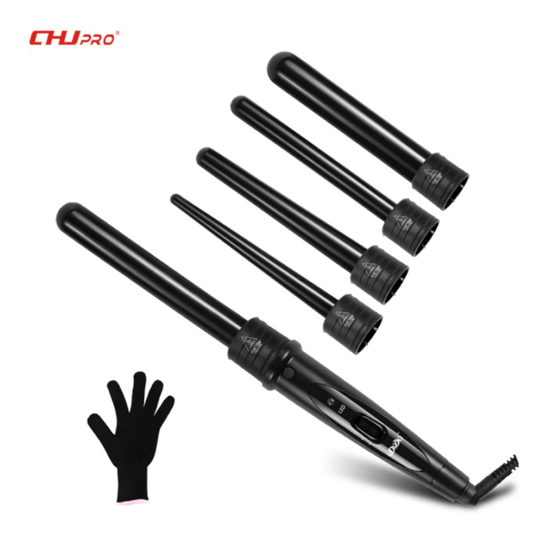 CHJ 5 Part Hair Curling Iron Ceramic Hair Curler Set Interchangeable Hair Tongs Led Curling Wand Roller Hair Crimper With Glove цена 2017