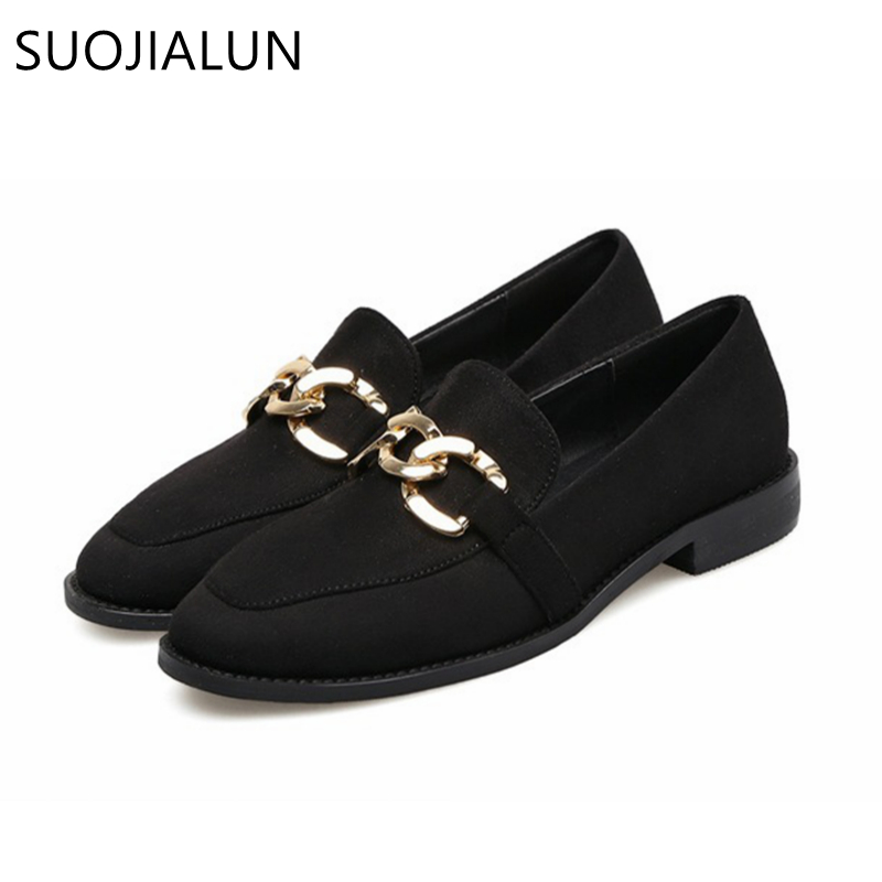 SUOJIALUN New Fashion Loafers Women Flat Round Toe Slip On Shoes Chain British Style Shoes Woman Casual Flats Free Shipping yotchoi 14 24 clip in on human hair extensions 10pcs wefts 350 maroon remy human hair full head straight 140g 220g weight