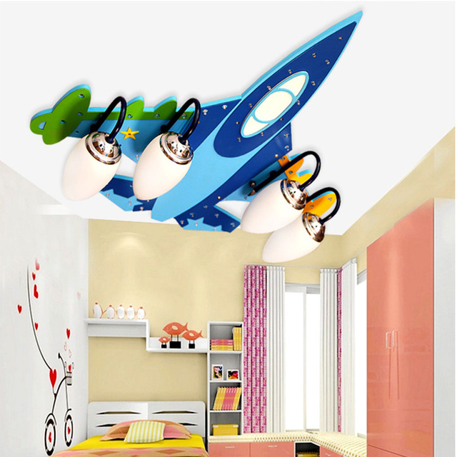 bluetooth cartoon led ceiling light lamp kids bedroom airplane wooden ceiling light home decor lights indoor - Home Decor Lights