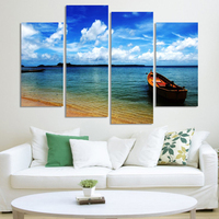 Unframed 4 Panels Blue Sky Sea View Wall Painting Large Print Picture HD Canvas Home Room Decor Artwork Poster
