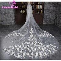 Роскошные 3 м Белый Кот собор фаты Длинные 3D розовыми цветами свадебные покрывал с расческой свадебные аксессуары невесты вуаль