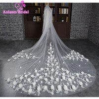 Luxury 3 Meter White Ivory Cathedral Wedding Veils Long 3D Rose Flowers Bridal Veils With Comb Wedding Accessories Bride Veil