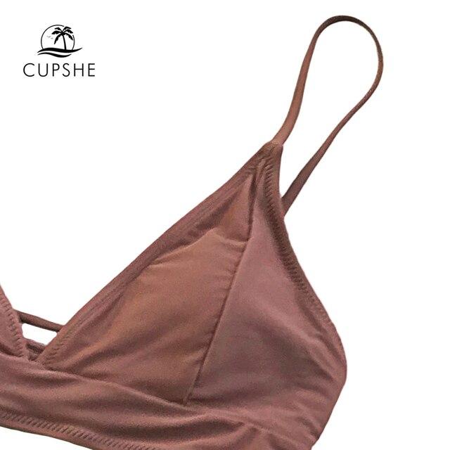 CUPSHE Brown Lace-Up Bikini Sets Women Triangle Mid Waist Two Pieces Swimsuits 2020 Girl Plain Beach Bathing Suit Swimwear 3