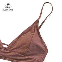 CUPSHE, коричневые, на шнуровке, бикини, наборы, для женщин, треугольник, средняя талия, два предмета, купальники, 2019, для девушек, простой, пляжны... 3