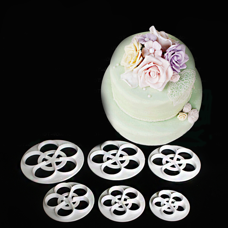 Baking Tools 6 pcs rose Accessary Fondant Cutter Embosser Tool Set Mold